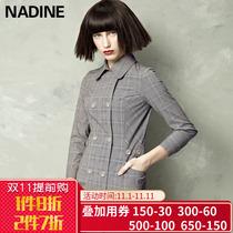 欧美风英伦格子风衣秋季新款大码时尚中长款外套显瘦薄大衣女装