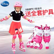 迪士尼溜冰鞋儿童全套装3-6-10岁5初学者男女孩滑冰鞋旱冰 轮滑鞋