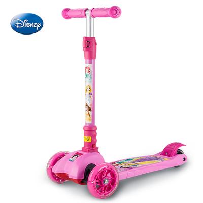 儿童滑板车迪士尼2-6岁三轮踏板滑滑车女男孩宝宝闪光轮一秒折叠