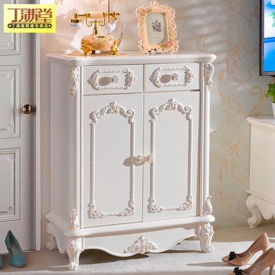 丁满堂家具鞋柜实木欧式储物柜子带门小户型白色烤漆客厅入户鞋橱