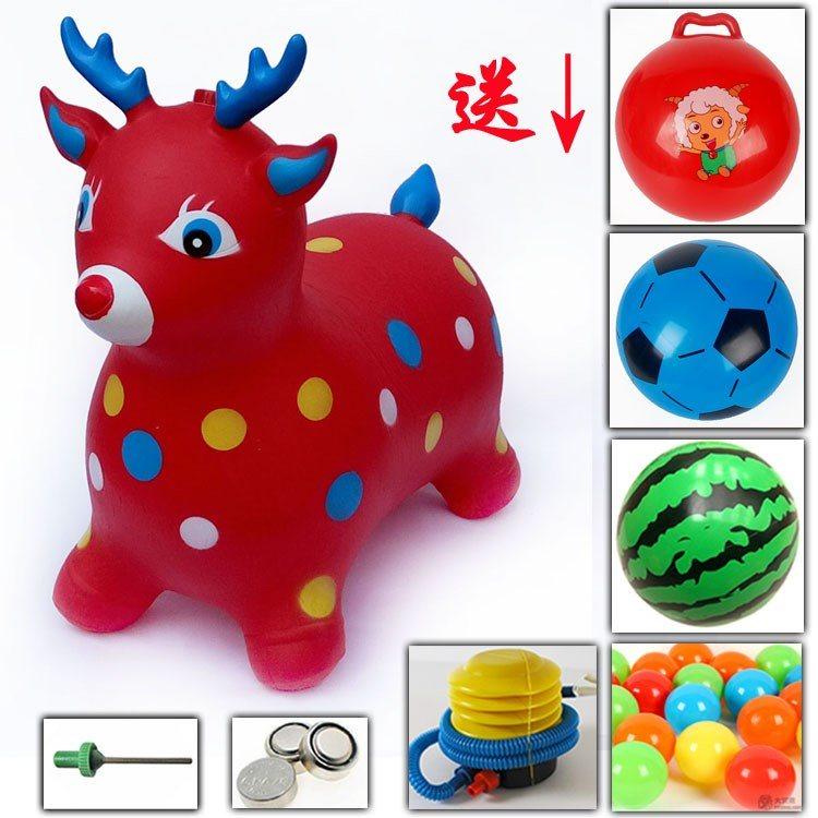 橡胶无毒骑马玩具儿童音乐跳跳鹿充气马加厚加大号宝宝小孩木马