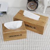 美式复古实木纸巾盒客厅装饰品家居茶几办公室桌面抽纸盒实用摆件
