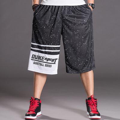 夏季薄款篮球裤 加肥加大码宽松运动裤 男士中裤透气短裤 七分裤