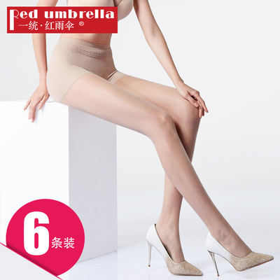 一统红雨伞6条装1D丝袜女粉底无缝三分裆夏季超薄款连裤袜防勾丝