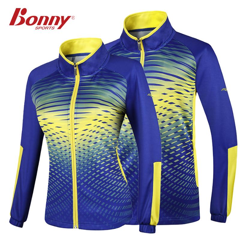 波力针织羽毛球服立领运动服上衣男款女款开衫长袖外套秋冬款