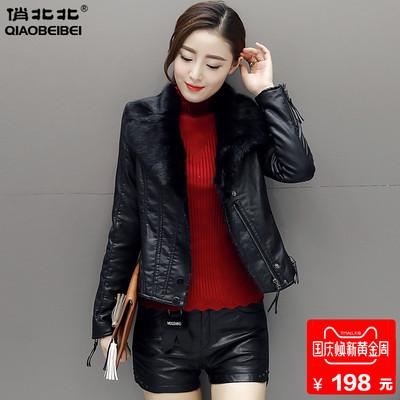 2018冬装新款毛领加绒皮衣女短款修身PU皮夹克加厚保暖皮棉衣外套