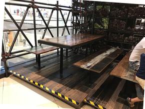 实椅会议桌美式正方形拆装 木餐桌松木4人北欧原木色简约复古桌子