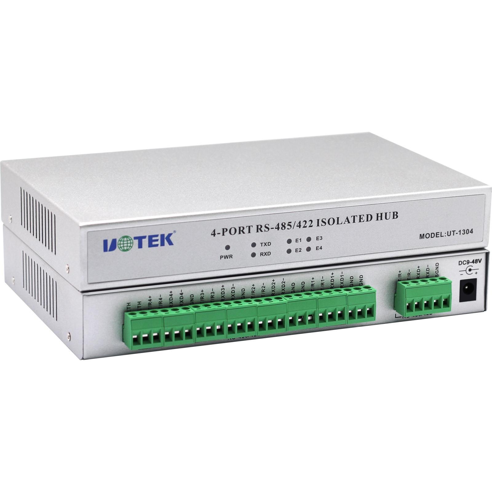 宇泰485集线器4口 1路422/485转4路485工业级HUB分配器UT-1304四路rs485/rs422集线器通讯分线器防雷光电隔离