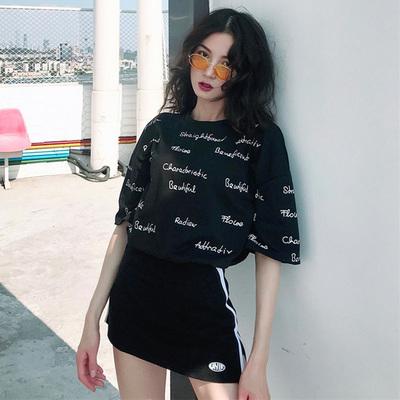 夏季新款字母印花小清新宽松短袖t恤女复古chic风显瘦百搭潮上衣