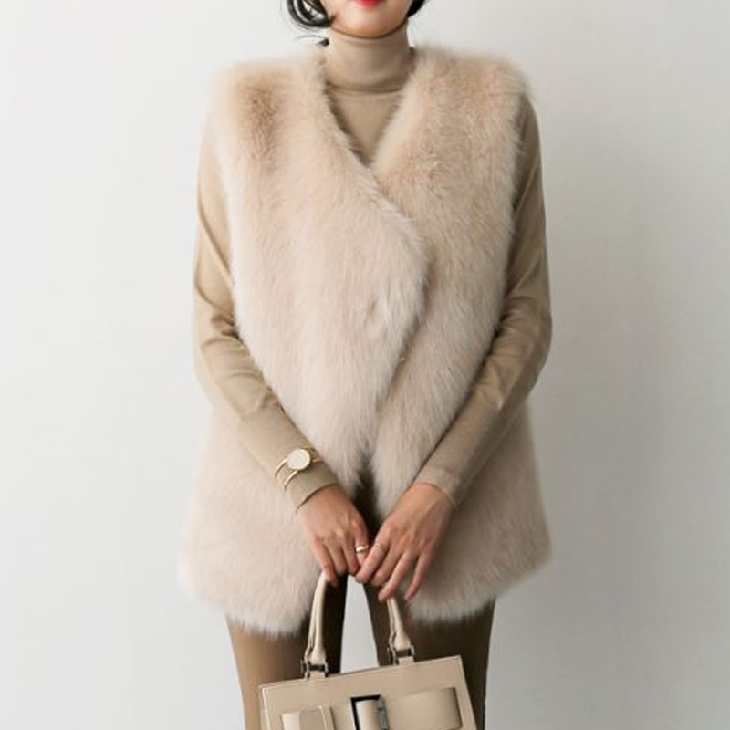 2018 autumn and winter Korean version of the imitation fox fur grass vest female environmental protection water 貂 hair back