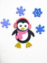 饰贴纸圣诞企鹅拼贴画 幼儿园手工材料包EVA带背胶彩色金粉泡沫装图片