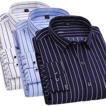 男士 衬衫 中老年人男装 长袖 春夏薄款 老人中年爸爸休闲印花条纹衬衣