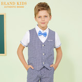 Eland kids clothing children's clothing 2019 summer new boy British leisure plaid vest EKSV92401A