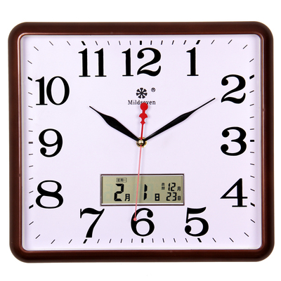 南宫世家14英寸方形客厅带日历温度挂钟 简约钟表静音扫描石英钟十大品牌