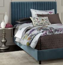 北欧简约现代蓝色双人1.5 1.8米软床地中海卧室婚床布艺床定制