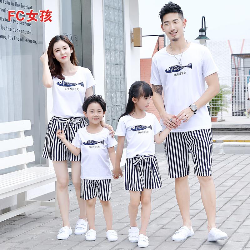 三口装装母女装条纹2019短袖姐妹套装