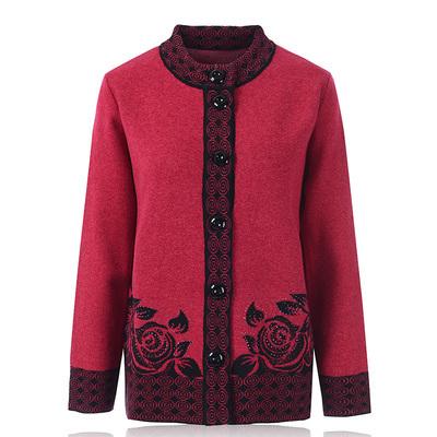 中老年人羊毛衫冬装上衣奶奶装加厚加肥加大码老太太开衫毛衣女士