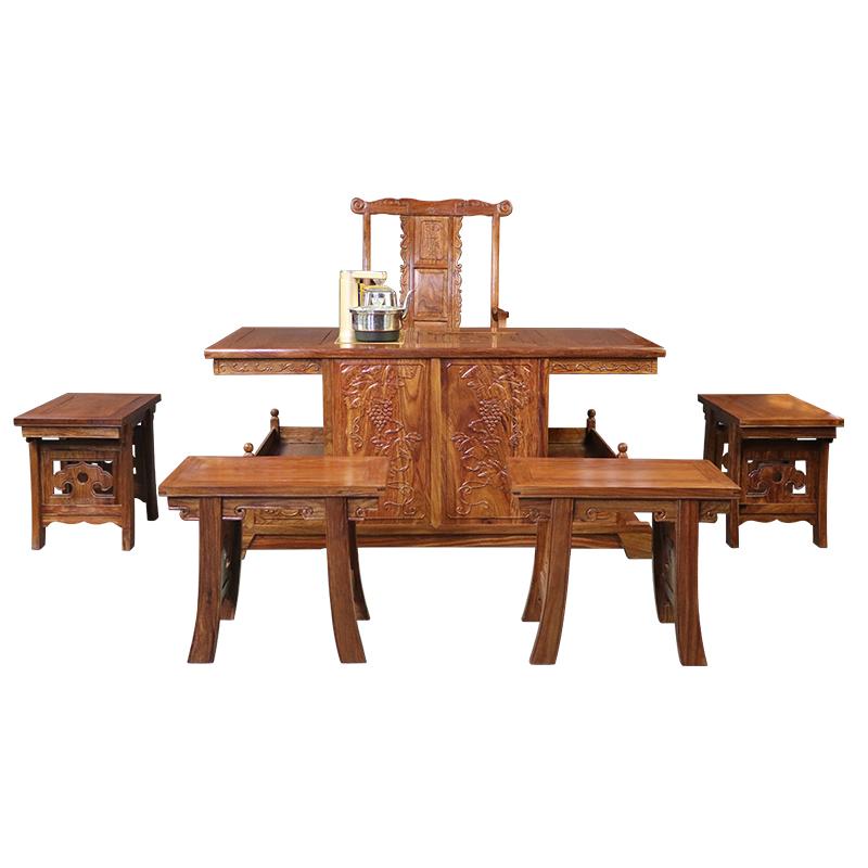 花梨木茶桌实木功夫茶几小罗马红木家具客厅新中式泡茶台椅组合