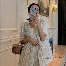 Small fragrance suit sleeveless plaid jacket + High Waist Shorts retro pearl button waistcoat two-piece suit