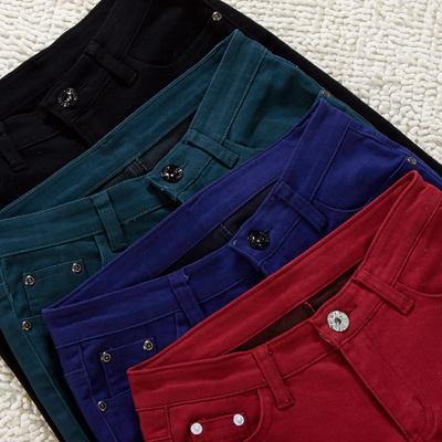 2018秋装新款加绒牛仔裤 加厚糖果色铅笔裤女小脚打底长裤