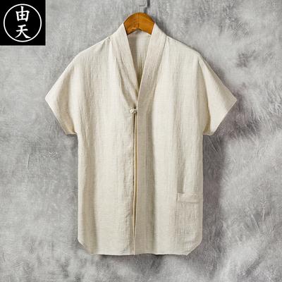 夏季中国风棉麻衬衫男士短袖宽松薄款复古风男装立领休闲亚麻上衣