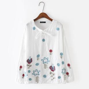 18春季新款加肥加大码胖MM200斤宽松显瘦圆领系带棉布绣花长袖T恤