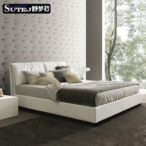 皮床真皮床北欧简约现代主卧床1.8米1.5双人气动储物实木软包婚床