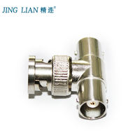 Fine connection 3-way BNC adapter 1 male 2 female surveillance video connector Camera three-way one-two video head