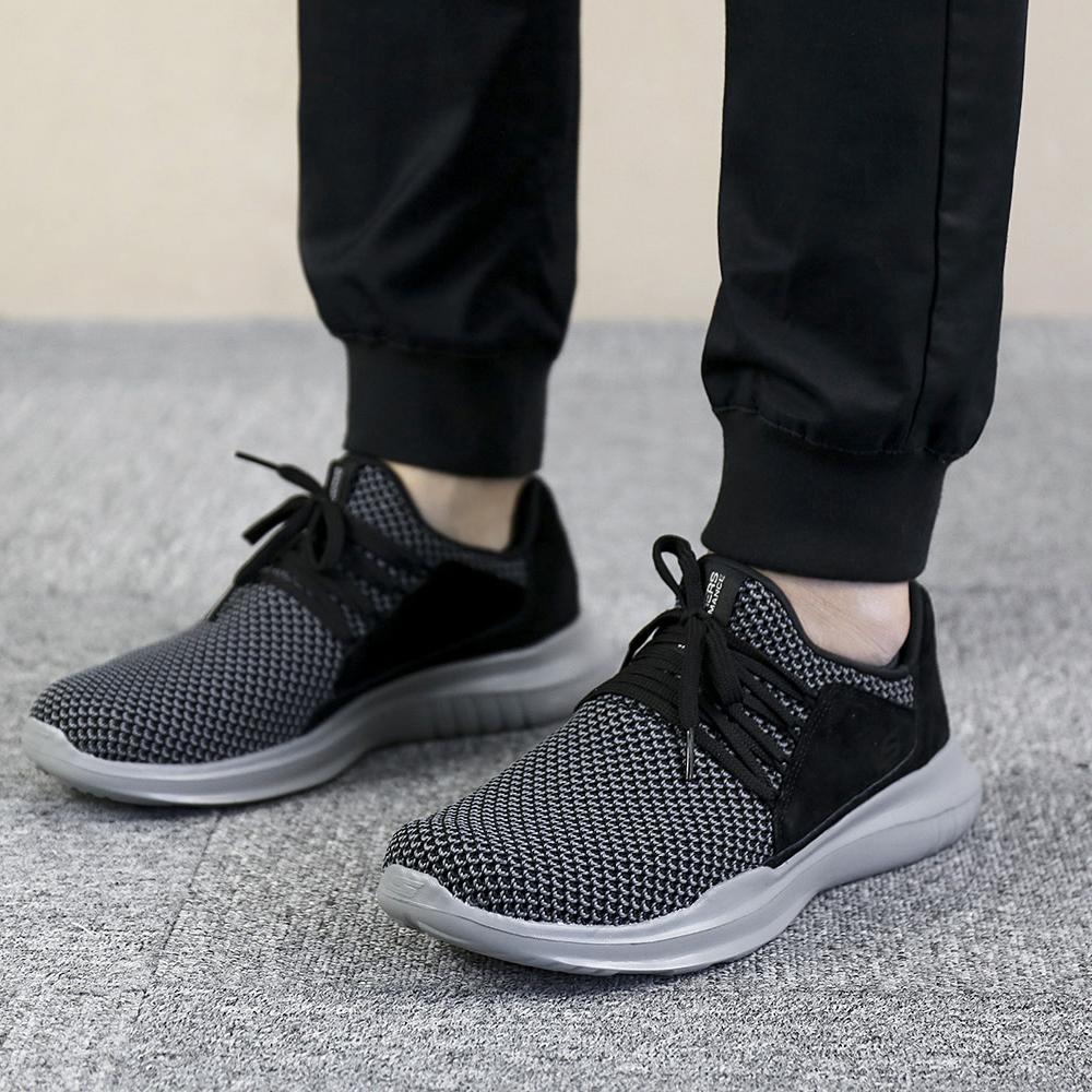 Skechers斯凯奇男鞋2018秋季新款休闲运动鞋透气跑步鞋54821-BKGY