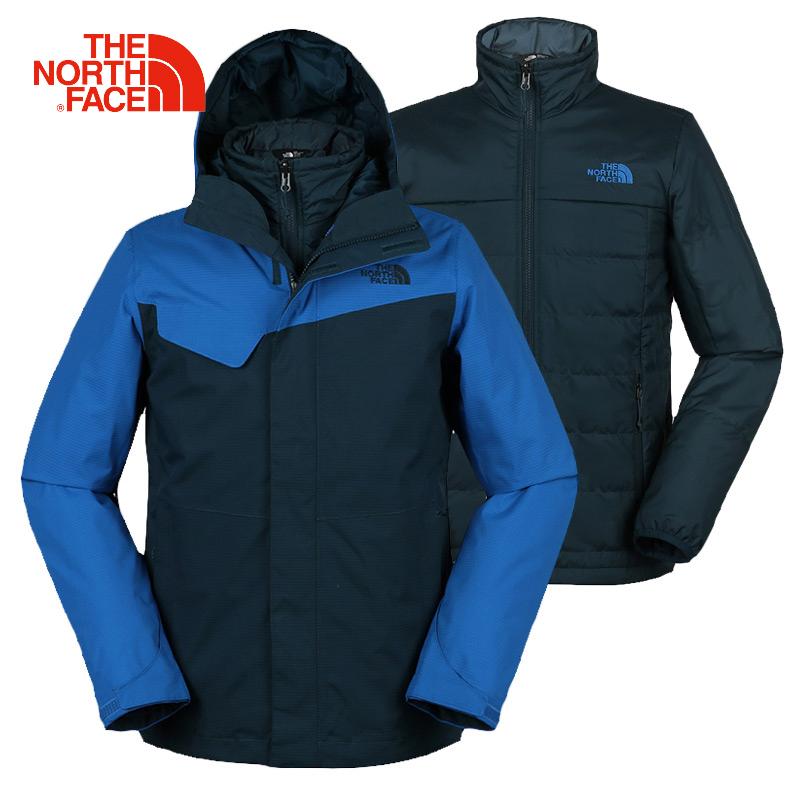TheNorthFace北面登山服男士秋冬季加厚加绒户外保暖三合一冲锋衣