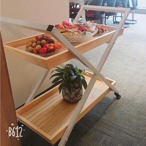欧式餐车 实木家用餐边手推车创意甜品滚轮茶点水果车包邮