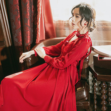 Queen Victoria French elegant red dress retro V-neck rose-breast tied dress