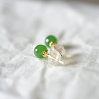 Spring color. Natural Hetian jade jade earrings No black point ice base Pure 18k gold earrings Small models