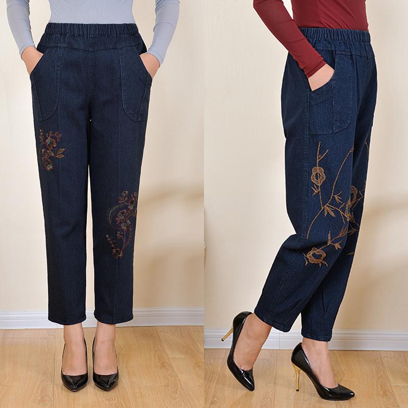 中老年松紧腰女士牛仔裤大码宽松灯笼裤绣花裤老年50-60岁妈妈裤