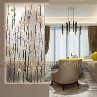 Custom modern minimalist art glass entrance wall screen partition restaurant bathroom door plum branch