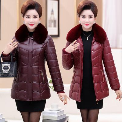 妈妈棉袄女冬装外套中长款40-50岁60中年女装pu皮棉衣中老年棉服