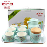 Color crown fashion ceramic tea set 9 sets of tea set color ceramic water with tea tray teapot cup
