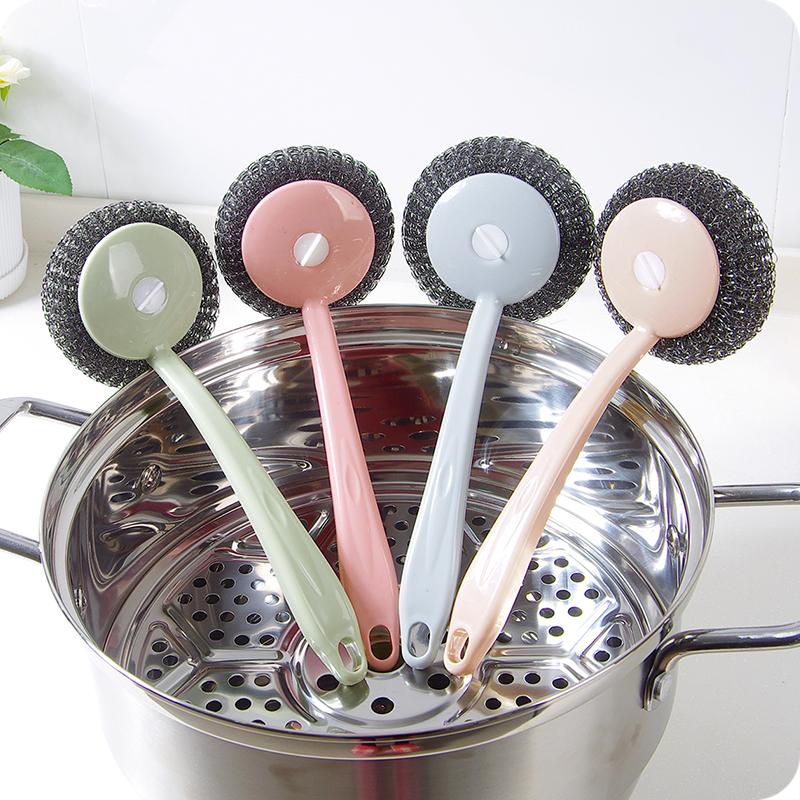 优思居去污长柄钢丝球洗锅刷家用厨房不锈钢清洁球水槽灶台清洁刷