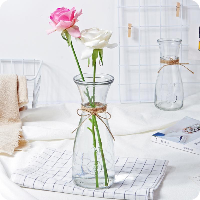 現代簡約玻璃花瓶客廳透明插花裝飾花瓶創意擺件花瓶桌面插干花瓶