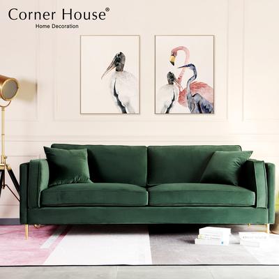 美式网红布艺沙发轻奢小户型客厅羽绒坐垫三人位ins绿色丝绒沙发