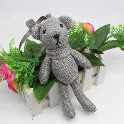 麻布泰迪熊公仔 长脚围巾熊包包挂件 diy创意钥匙扣娃娃毛绒玩具