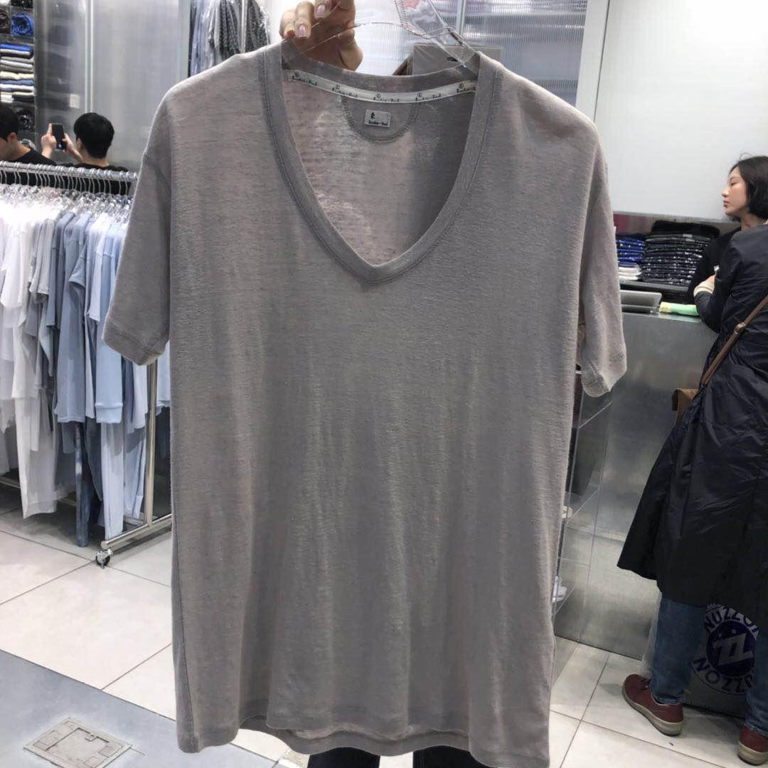 041109B  韩国东大门女装亚麻面料短袖圆领T恤