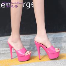 超高跟拖鞋 时尚 防水台细跟厚底走秀凉鞋 女鞋 韩版 夏季一字型凉拖鞋