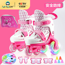 Children's skates Children's complete set beginners boys and girls roller skates can be retractable 2-3-6 year-old baby double row