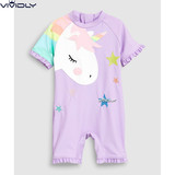 Spot NEXT girls sun protection one-piece swimsuit 2019 summer children baby purple one-horn beach sun protection clothing