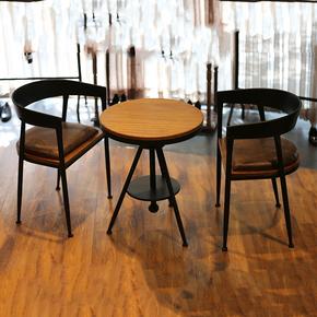 铁艺复古实木咖啡厅桌椅甜品店奶茶店桌椅组合小圆桌阳台休闲桌椅