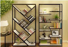 简约现代实木书桌复古落地书架隔板货架收纳架置物架组合展示架