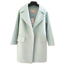 大翻领薄荷绿小清新茧型加厚毛呢外套 反季清仓呢子大衣女中长款图片