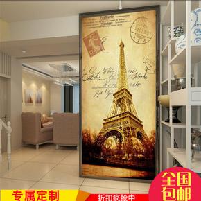 3D欧式油画墙纸个性复古埃菲尔铁塔过道背景墙壁纸竖版玄关壁画