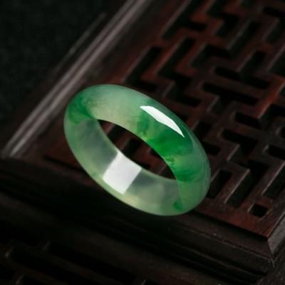 冰种 正 阳绿 翡翠 戒指